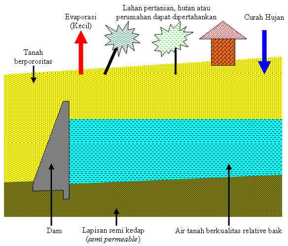 Gambar 1. Struktur reservoir bawah permukaan beserta neraca airnya